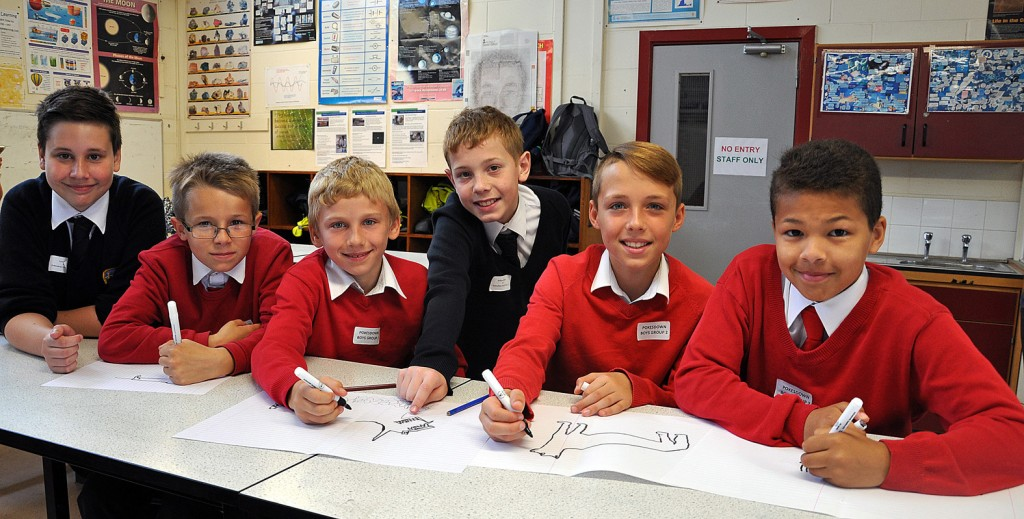 WEAR IT WILD. Pictured are boys from Pokesdown Primary School who were taking part in a science workshop as part of Avonbourne Trust's STEM Day. They were ably assisted by Year 7 students from Harewood College.