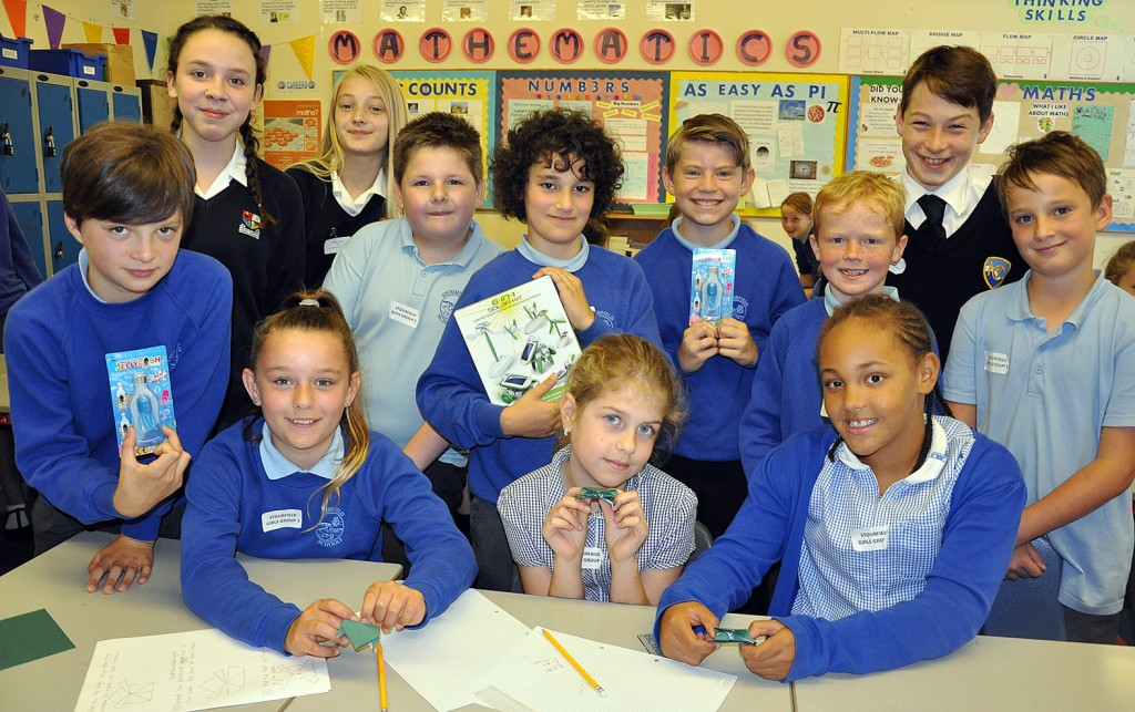 WEAR IT WILD. Pictured are children from Stourfield Junior School who were taking part in a maths workshop as part of Avonbourne Trust's STEM Day. They were ably assisted by Year 7 students from Avonbourne and Harewood colleges.