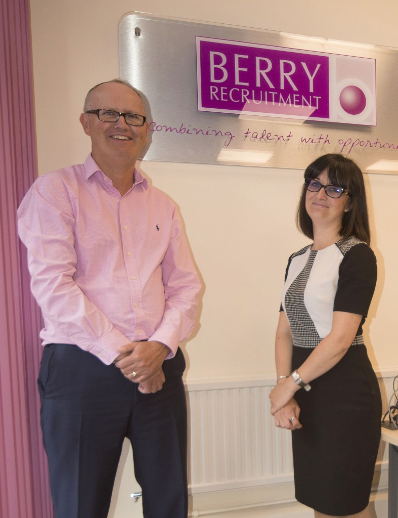 Jason Hubbard, Director of JBH Refurbishment, and Jody Page from Berry Recruitment in Kent. JBH refurbished Berry's offices.