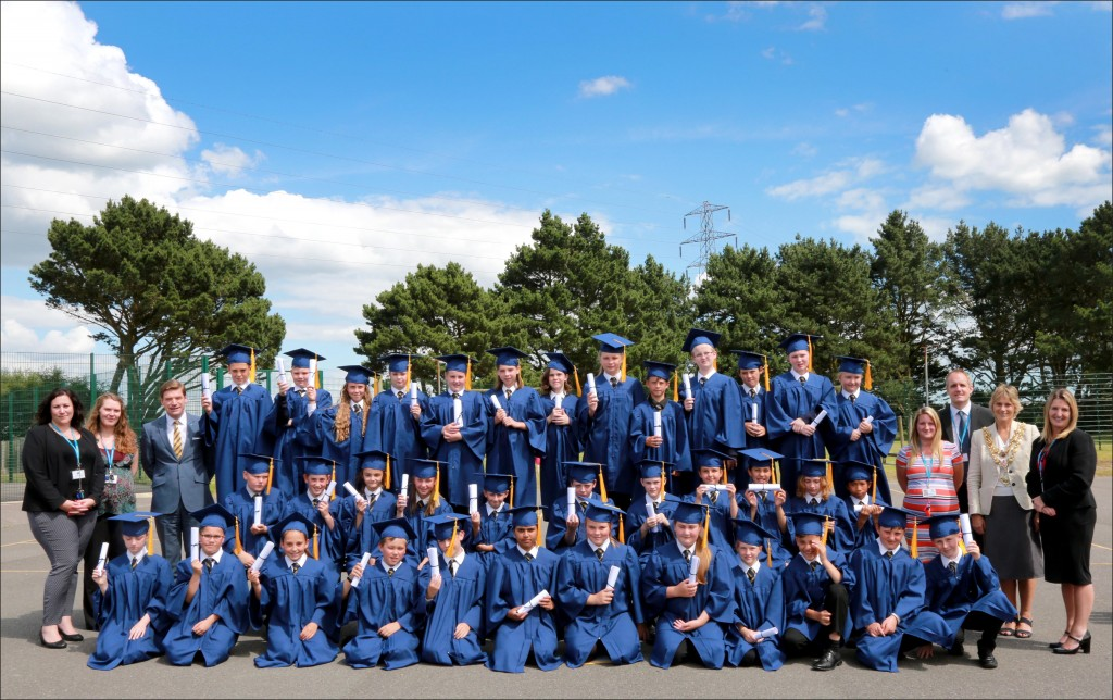 Year 6 pupils from Manorside Academy celebrated with a graduation ceremony before leaving for high school.