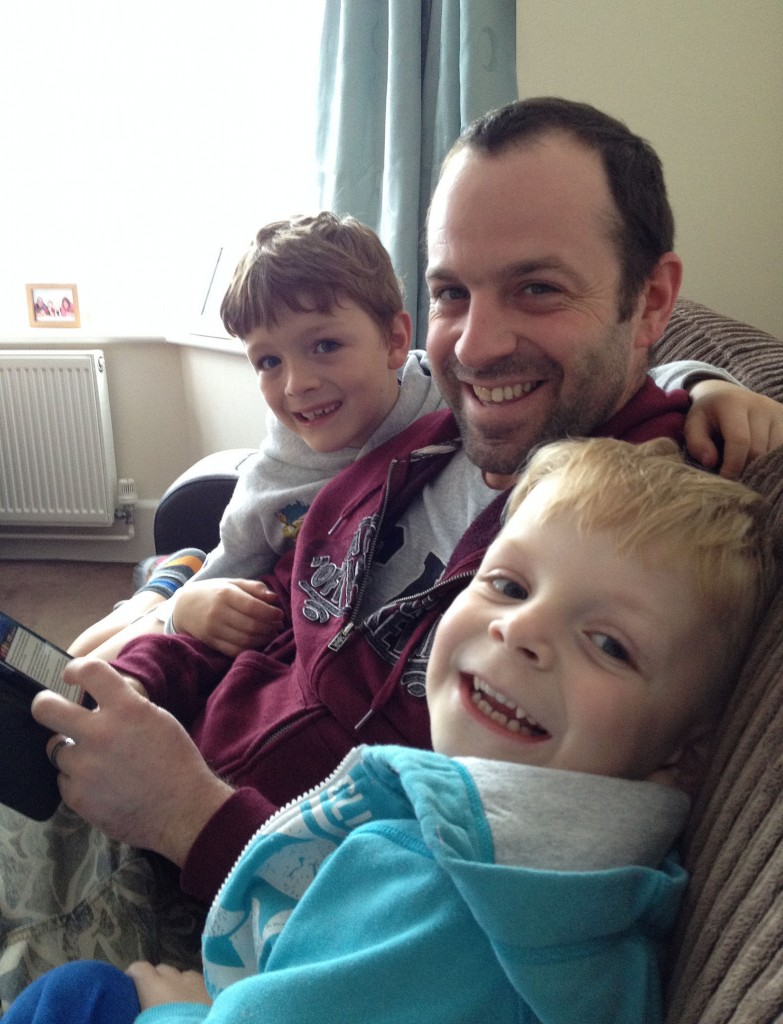 Kevin with his sons Harry and George