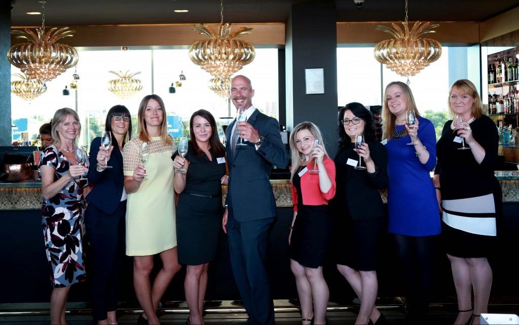 Launch of the Team Jobs Commercial and Hospitality office at the Bournemouth Hilton Hotel. Json Gault with his Team Jobs team, Suzi De Villiers, Michelle Brennan, Harriette Anderson, Rachel Wilson, Michelle Turner, Kirsty Harris,Gemma Vincent and Karen Brodie.