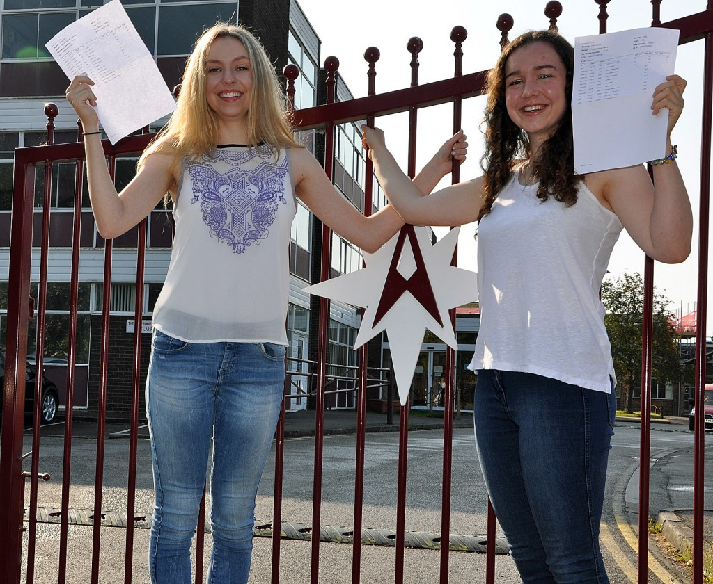A is for Arnewood. Straight A students Rachel Robinson (left) and Tegan Gears are both off to Oxford from The Arnewood School in New Milton. Both got 3 A*s in their A levels.