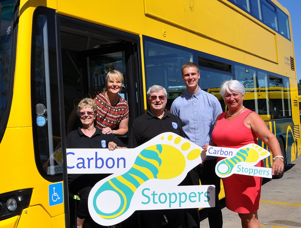 The Yellows Buses/Daily Echo Carbon Stoppers initiative gave money to AOK Rucksack, a charity that helps the homeless. (l-r) Sally Harvey (charity founder) Fiona Harwood of the Yellows, Roger Harvey from the charity and Ollie Wheatley and Jenni Wilkinson of the Yellows.
