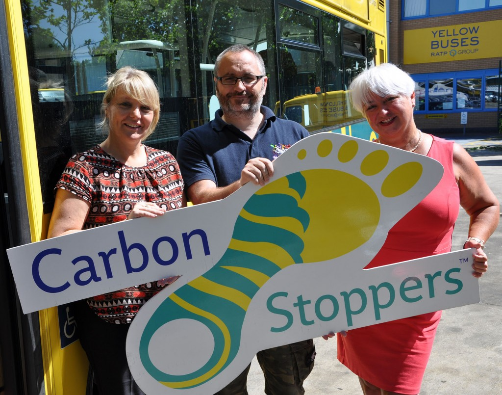 The Yellow Buses/Daily Echo Carbon Stoppers initiative gave £200 to AIMCommunity, a charity that works with young people through creative arts, education and mentoring. (l-r) Fiona Harwood from the Yellows, Richard Newland from the charity and Jenni Wilkinson from the Yellows.