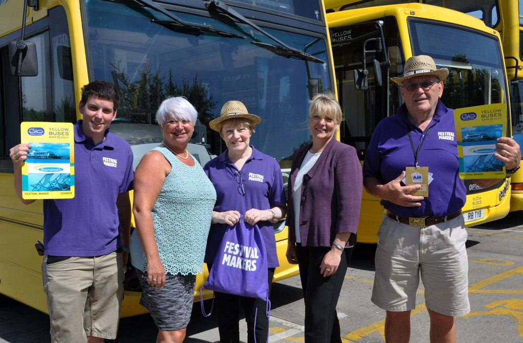 Yellow Buses is preparing to fly high for the Bournemouth Air Festival – as the official transport partners. The volunteer festival makers – easily recognisable in purple – receive free travel on the Yellows' network during the four day show. Pictured here: (l-r) Mark Ansell, Jenni Wilkinson from the Yellows, Sylvia Kirkpatrick, Fiona Harwood from the Yellows and Stew Mckell.