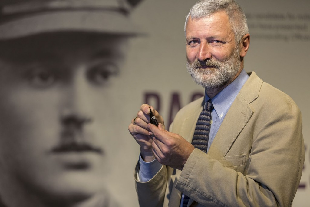 The ring that Basil Henriques made for his wife with glass taken from his face after his tank was shot during the first ever tank engagement in 1916. David Willey, curator of The Tank Museum in Bovington, Dorset, is holding it.