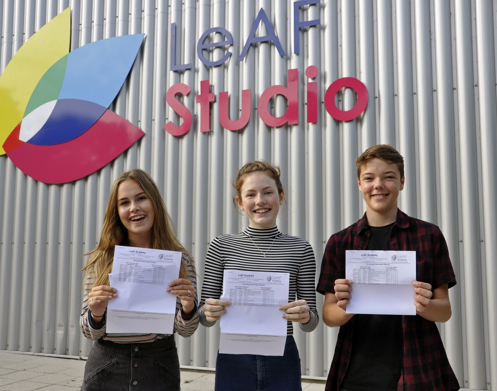 These LeAF Studio students celebrated an excellent set off GCSE results. From left to right: Performer Samantha Toms who scored two A*s, five As, two Bs and one C; ballerina Harriet Williamson who achieved three As, seven Bs and one C in GCSE; and include athlete Niko Gleed  who achieved four As, two Bs, two Cs and an AS in German.