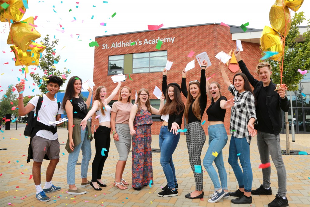 Outstanding St Aldhelm's Academy students celebrate their results.