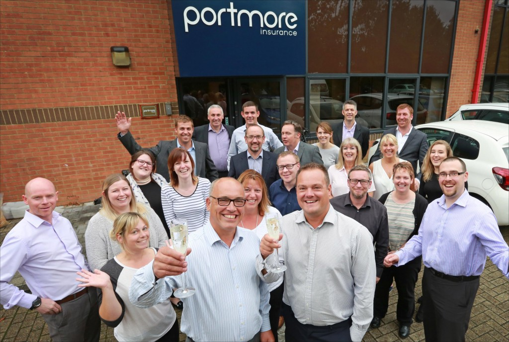Portmore Insurance look forward to their 10th anniversary gala dinner which is due to take place on Friday 7th October. Pictured are directors Graham Jacobs and Paul Chapman with staff at their Test Lane offices.