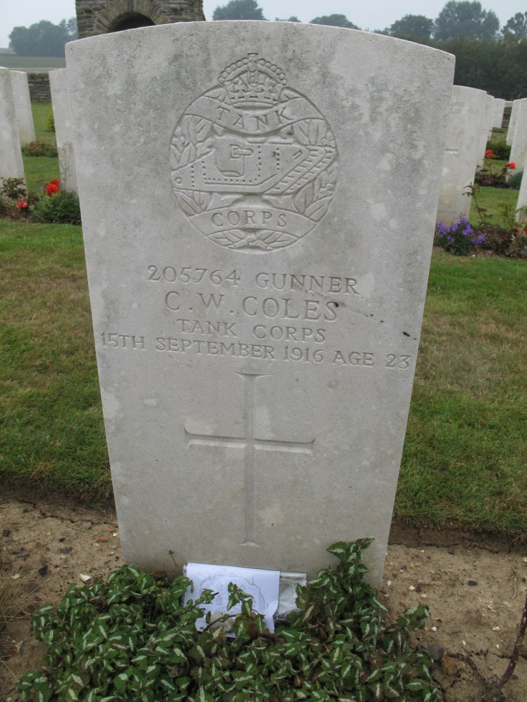 The grave of Cyril Coles in France. He was one of the first tank crewmen to be killed in battle.