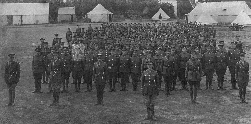 A picture of some of the very early tank crewmen - Cyril Coles is fourth from the left on the first row of men dstanding shoulder to shoulder.