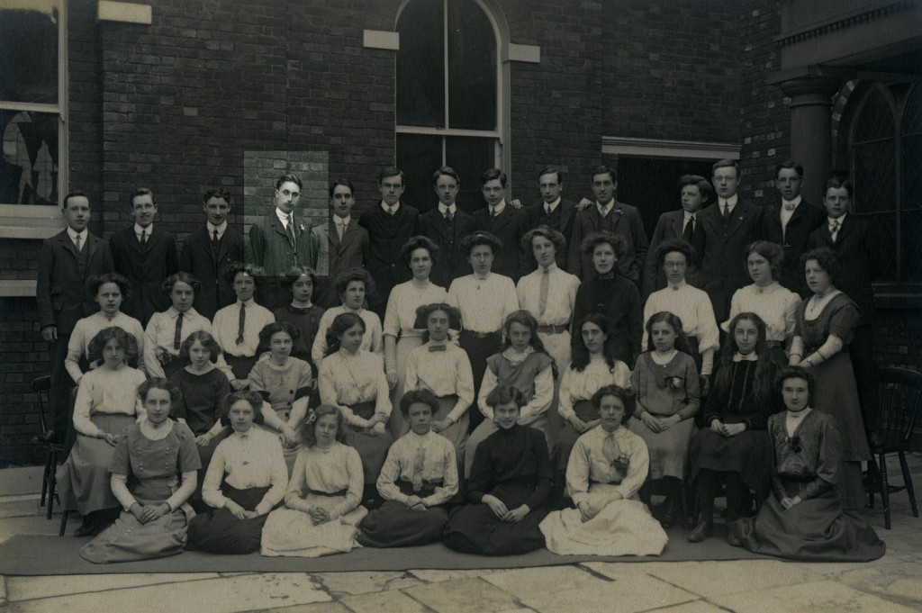 Cyril Coles - one of the first tank crewmen to be killed in history. Pictured here at his church in 1912. He's fourth from the left on the back row.