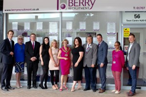 Berry Recruitment has opened its new offices in the town. Pictured are: Mayor, Cllr Patricia Mabbott (centre, in Berry colours), to her right is Berry's Regional Director Debbie Dowling and to her right with the stripey tie is Roger Trigg from the council.