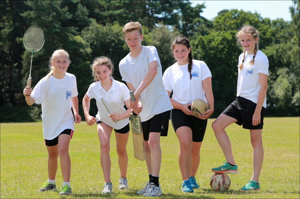 The outstanding sporting stars from St Michael's Middle School, Colehill. Left to Right Antonia Fox, Abbie Lovering, Tom Prest, Olivia Horton and Erin Thickett.