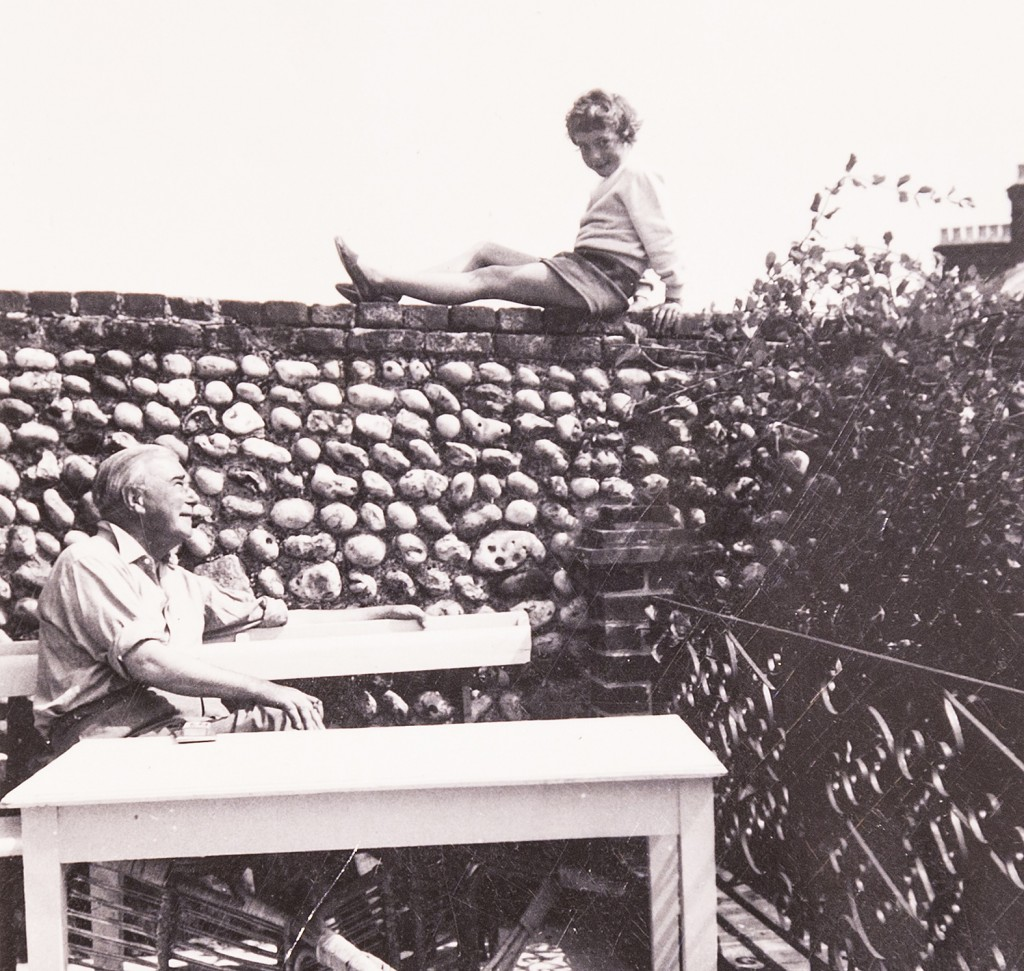Harold Mortimore and daughter Tilly at the family's holiday home in Backton, Norfolk. in 1956.