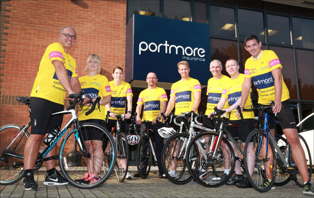 WHEELY GOOD SHOW: Members of the Portmore Insurance charity cycle challenge team, from left, Graham Jacobs, Kayleigh Rooke, Emma Sayers, Simon Dixon, Steve Goulter, Mark Whittingham, Dave Macaulay and Michael Piper. They are embarking on a 150 mile charity cycle ride through France to Paris in aid of the Lahna Appeal and The Society of St James.