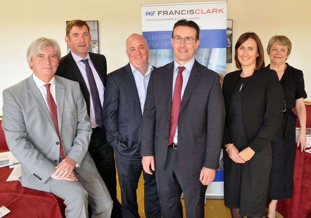 Hot topics: Glenn Nicol, Partner and Head of Corporate Services, PKF Francis Clark (centre) with (left to right) Paul Vann, Walbrook PR; Mike Coe, WH Ireland; Simon Staples, Ashfords; Claire Dorrian, London Stock Exchange, and Carol Page, Financial Reporting Council.