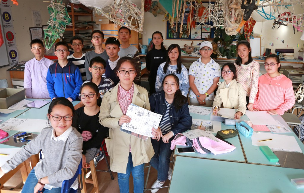 A group of Chinese students have joined Avonbourne College on a cultural exchange, they are pictured during an art lesson.