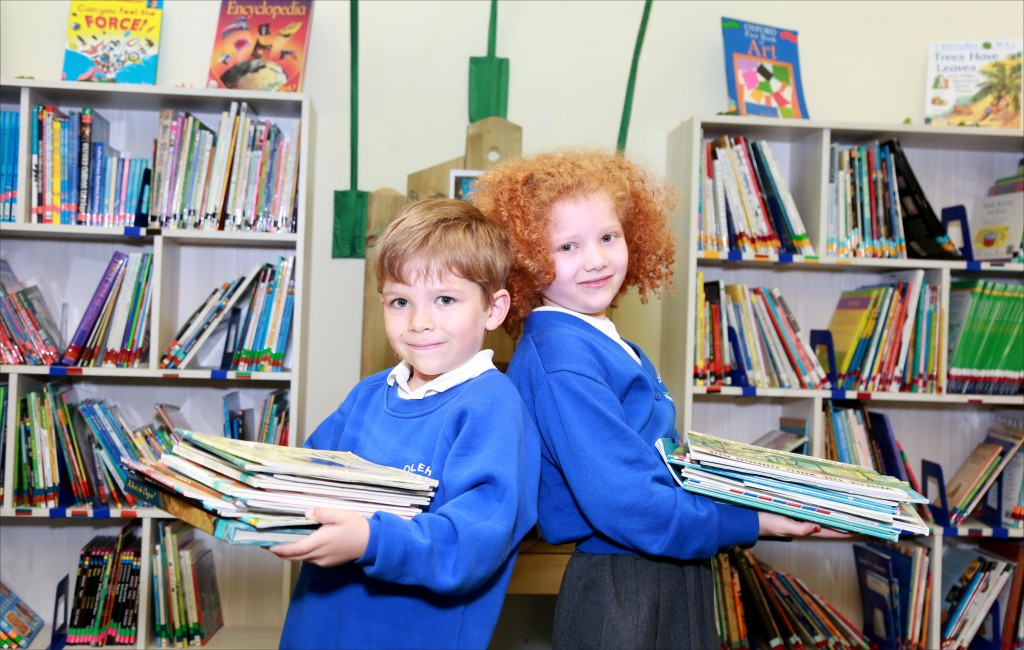 Pupils at Colehill First School enjoy their new library space.