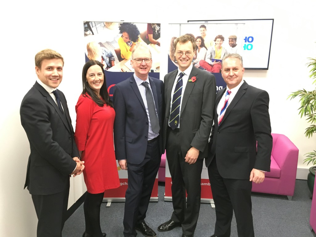 From left, Young Chamber co-ordinator Will Montgomery, Laura Hankinson from TestLink, Greg Hughes from TestLink, Mid Dorset and North Poole MP Michael Tomlinson and DCCI chief executive Ian Girling.