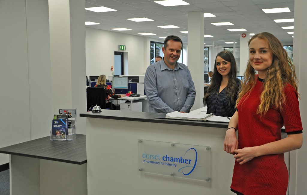 YOU'RE HIRED: From left, Matthew Butcher (The College sales and customer account manager Matthew Butcher), DCCI events manager Vikki Southern and apprentice Abigail Chapman