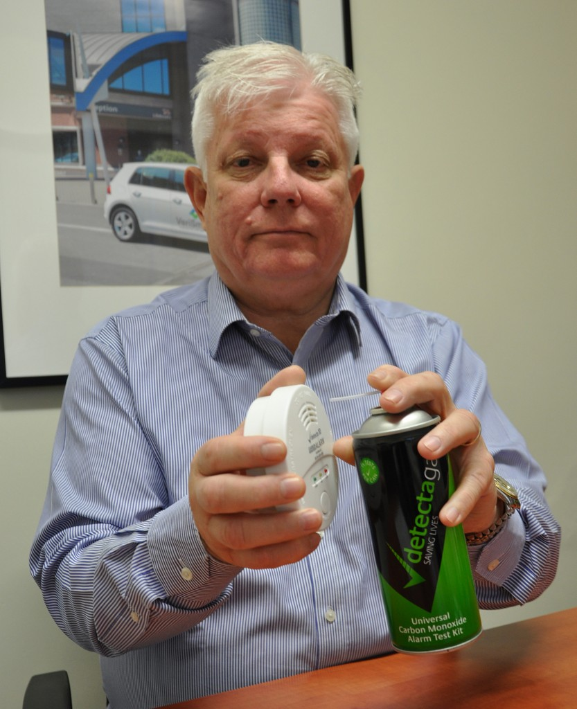 Jonathan Senrio, Chairman of VeriSmart Inventories, shows how to correctly test CO alarms.