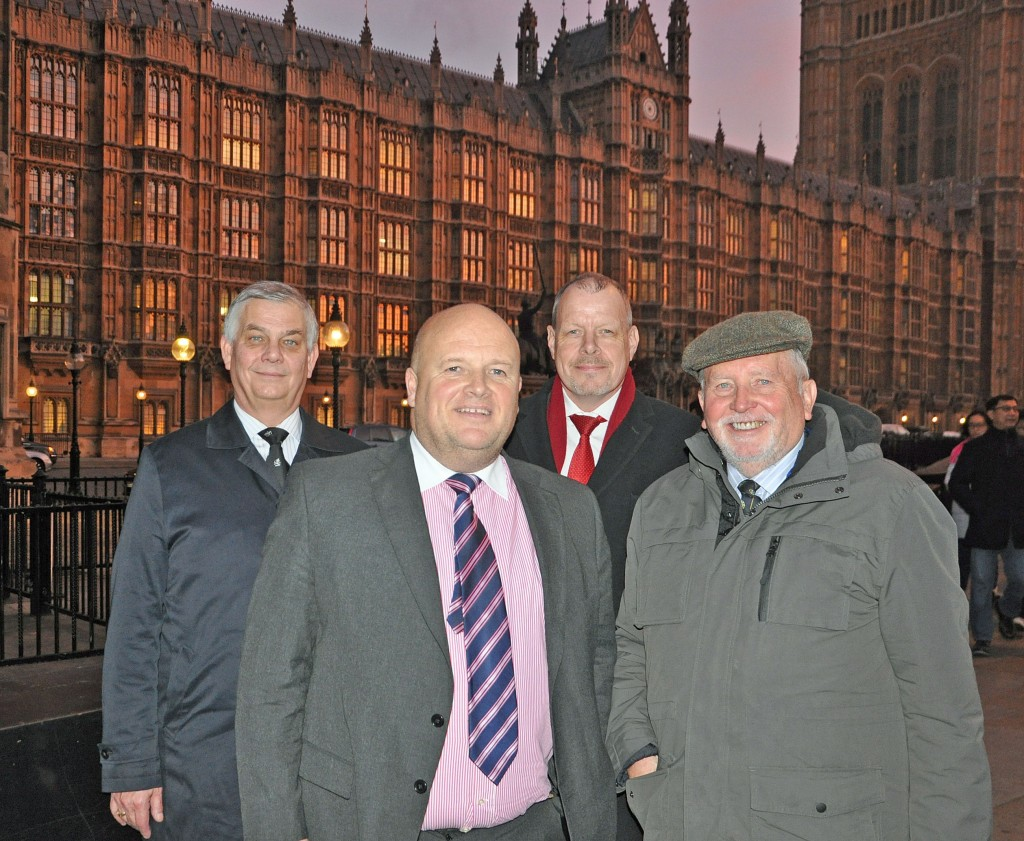 SECURITY: Delegation from The Maritime Group International (TMG) and State 21 for coastal security presentation at Parliament. From left: TMG director and partner Les Chapman, State 21 business director Tony Birr, State 21 managing director Richard Rowland and TMG managing director Malcolm Parrott