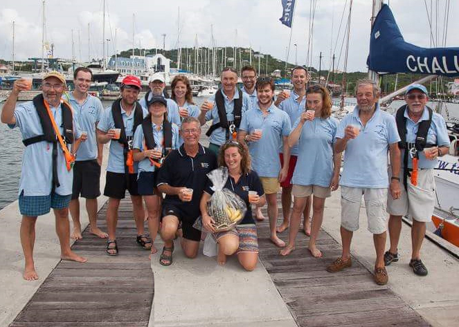 CHEERS: Crew celebrate after reaching St Lucia