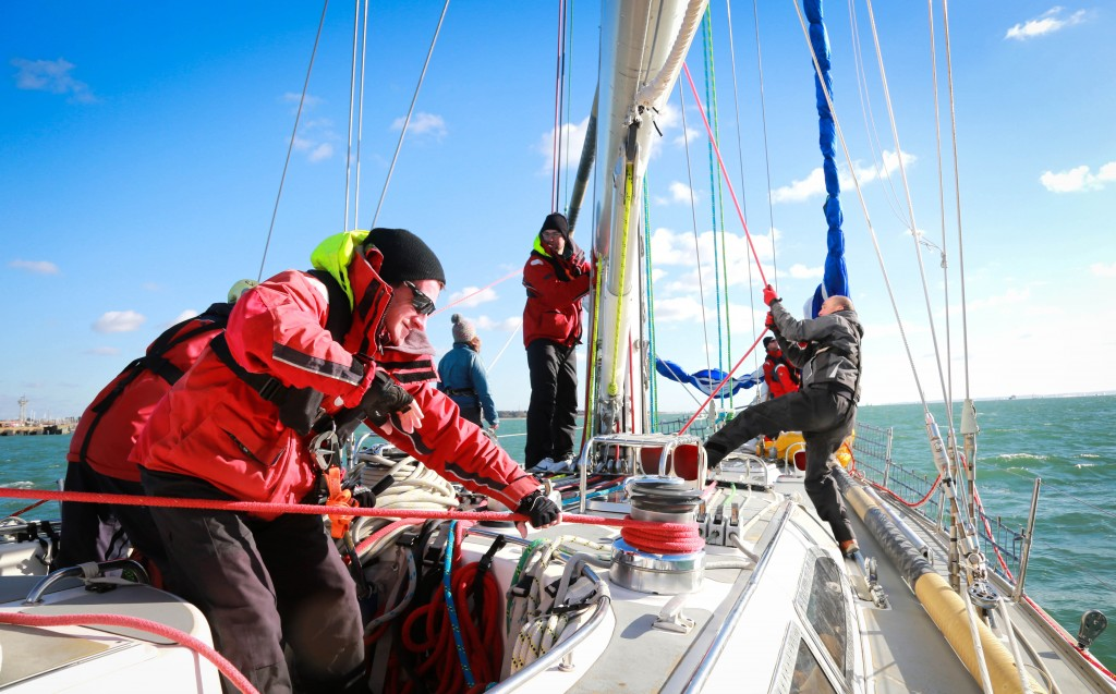 ATLANTIC: The First Class sailing crew in action before their voyage