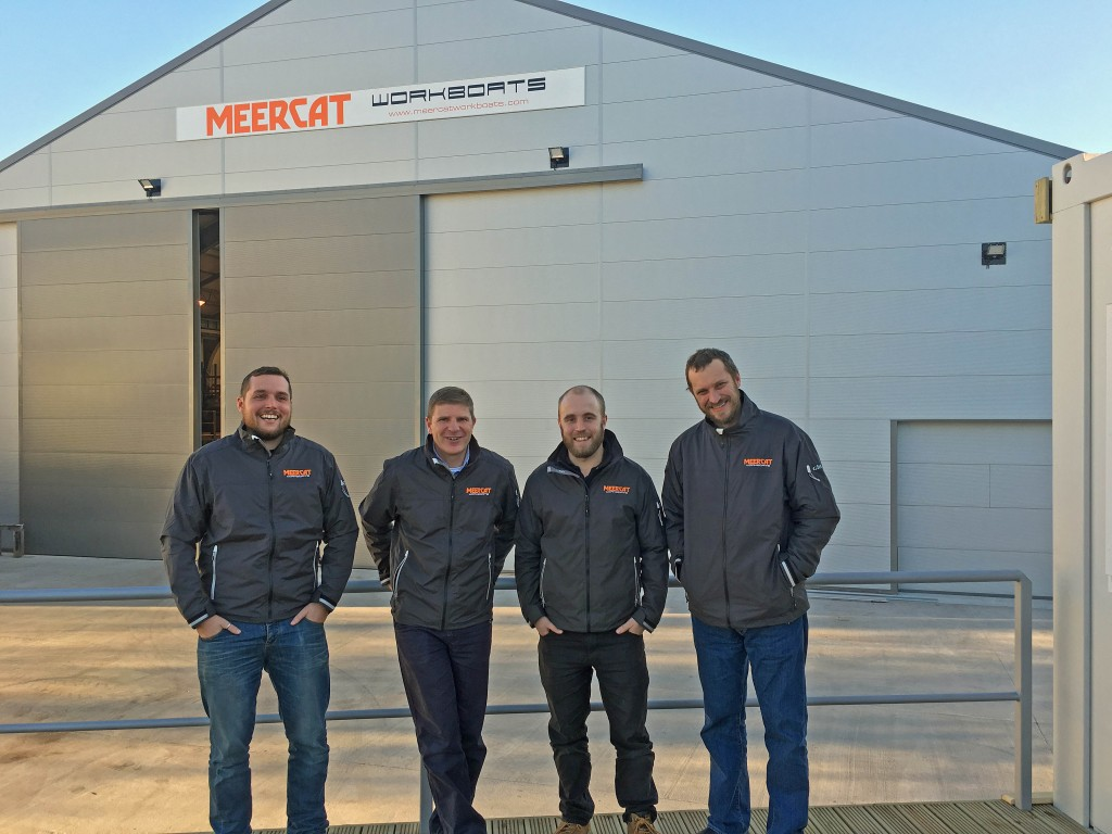 Meercat Workboats has this month moved from Portchester to new, purpose built premises in Hythe Marine Park, Southampton. Picture shows Managing Director Jason Coltman second left with staff