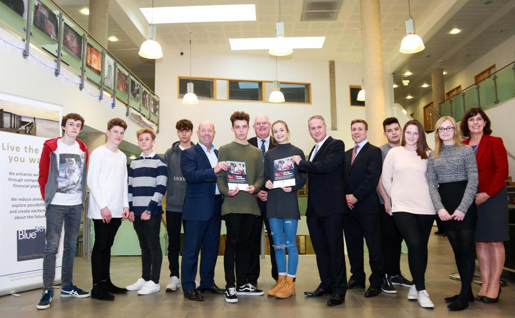 The latest addition to the Young Chamber from Dorset Chamber of Commerce and Industry is Queen Elizabeth'S School in Wimborne. Sponsor Gary Nield of Blue Sky financial planning is pictured with DCCI CEO Ian Girling, headteacher Martin McLeman, staff and pupils.