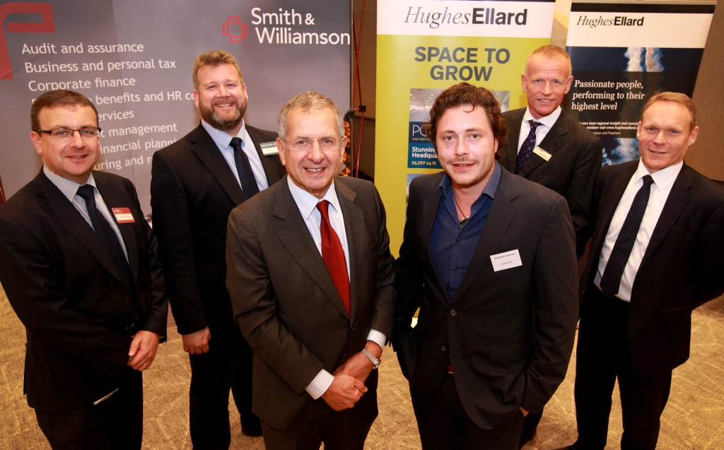 Guest speakers at the Solent Business Growth Summit, Gerald Ratner and Andrew Lennox pictured with event sponsors Andrew Edmonds (Smith Williamson), Simon Wright (Trethowans), Gary Jeffries (Hughes Ellard) and Gwyn Price (Santander) at The Hilton Hotel, Ageas Bowl.