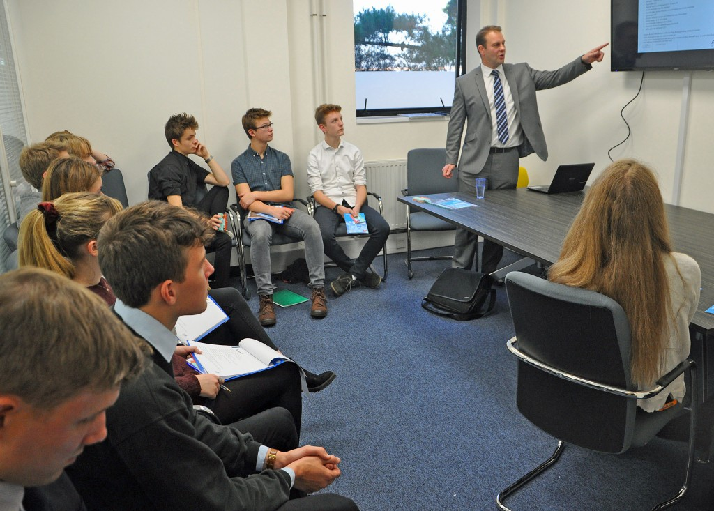 Gryphon School sixth formers listen to Young Chamber presentation by Mark Eastwood of ABP Yetminster