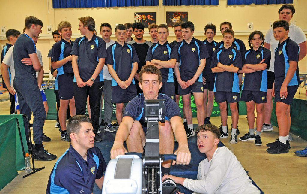 RECORD BREAKERS: A team of  indoor rowers from Harewood College and Avonbourne Sixth Form have smashed the British Junior Under 20s 'large team' 100km indoor rowing record – here they are in record-breaking action.