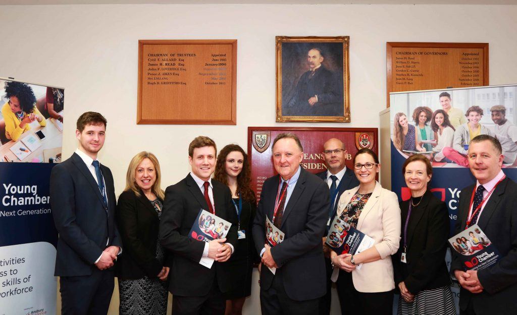BUSINESS BRAINS: Thomas Hardye School in Dorchester have joined the DCCI Young Chamber programme, staff are pictured with Will Montgomery of the DCCI and sponsors Atlas Elektronik.