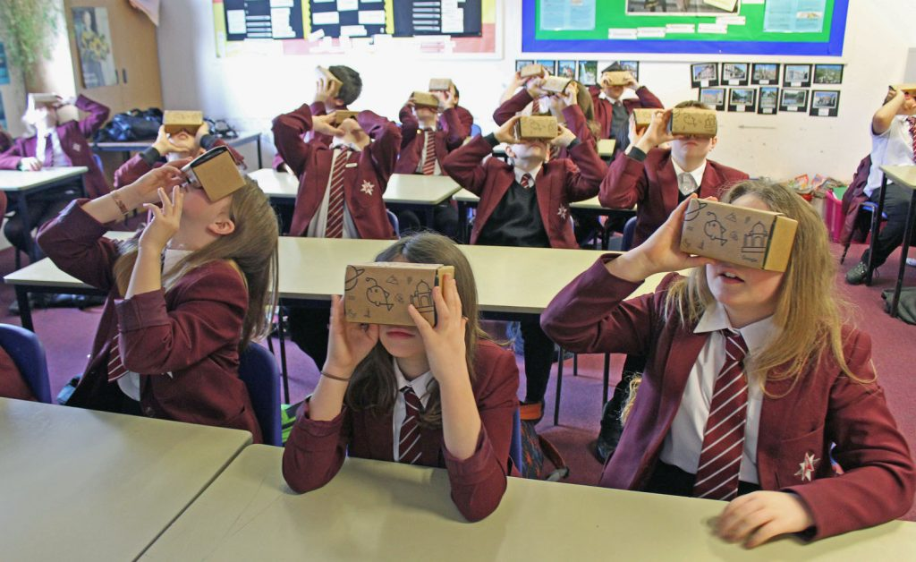 Hundreds of students from The Arnewood School were taking on a virtual trip around the world and universe, thanks to Google Expeditions cardboad viewers.