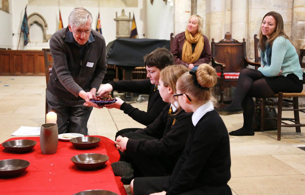 Pupils from Wimborne Academy Trust schools are taking part in an Easter Experience week at Wimborne Minster. Allenbourn Middle School are pictured during their time at the Minster.