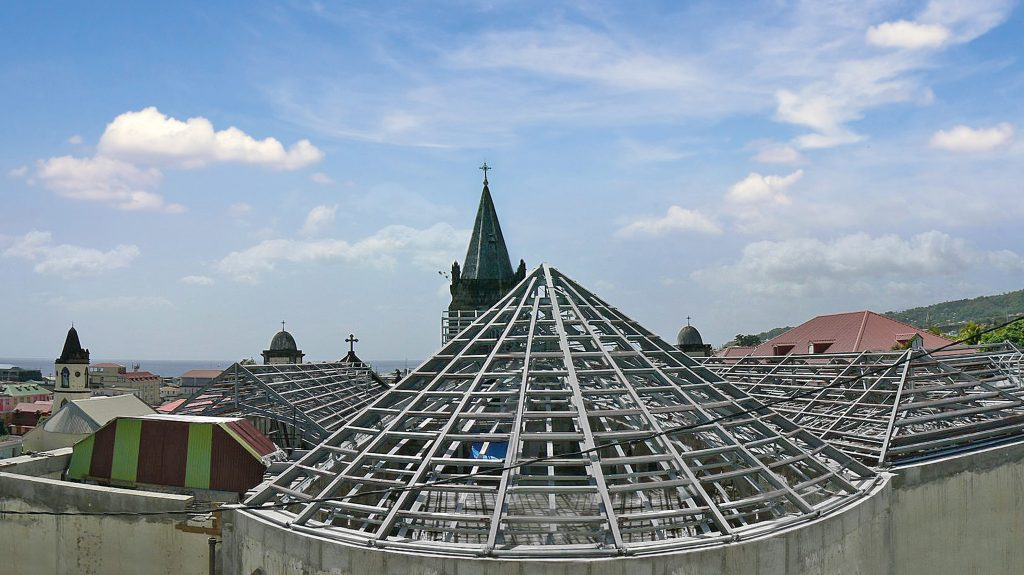 A hurricane resistant roof structure has been manufactured by steel construction company REIDsteel for the renovation of the Lady of Fair Haven Cathedral in Roseau on the island of Dominica in the Caribbean (PICTURE: Bernard Lauwyck, Diocesan Engineer)