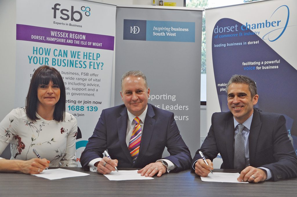 RALLY CRY: From left: Angela Piromalli, chair of the Dorset branch of the IoD; DCCI chief executive Ian Girling; and Neil Eames, FSB development manager for Dorset