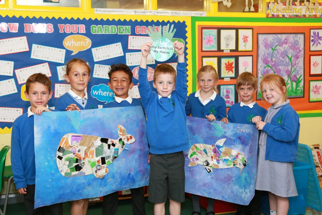 Pupils at Merley First School took part in an envioronmental day and produced artwork out of litter to show the danger it presents to animals at sea.