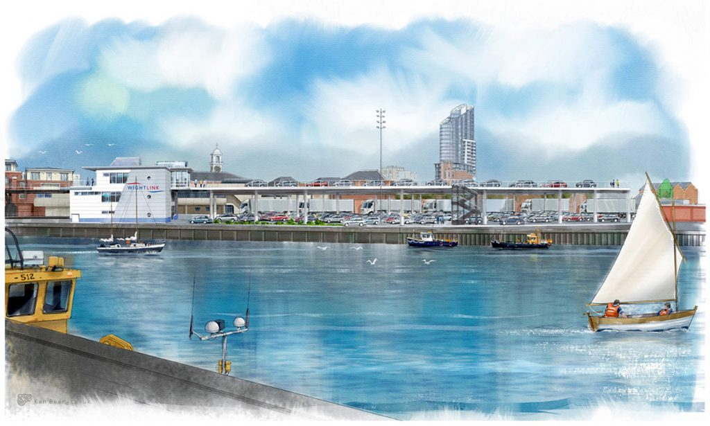 ALL ABOARD 1: Artist's impression from Wightlink of new £45m ferry terminal project at Gunwharf in Portsmouth. Includes a new two-storey car marshalling deck and a new customer experience building. REIDsteel designed, supplied and erected all steelwork, cladding, external windows and external doors through Southampton-based engineering, procurement and construction contractor Trant Engineering