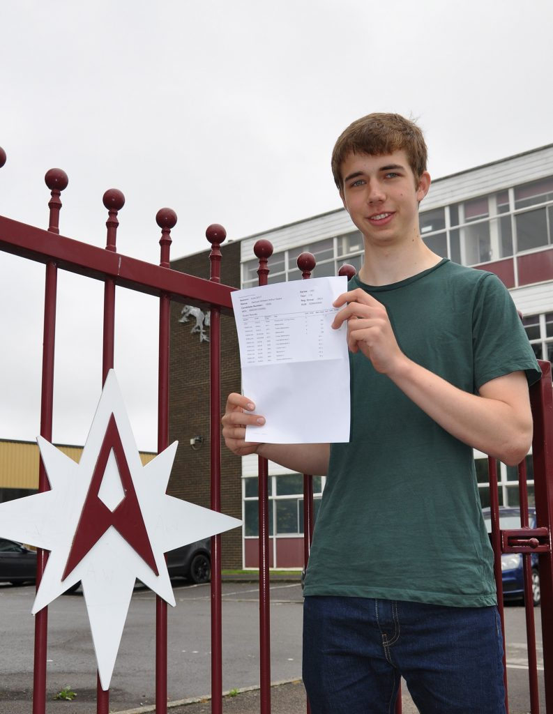 Samuel Gears from Arnewood who got straight A*s in his A levels