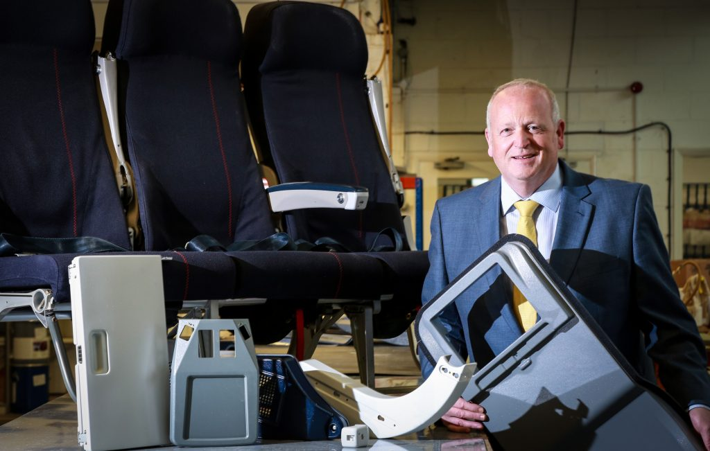 AIRCRAFT LIFT-OFF: Trevor Lea, Managing Director of Flitetec Ltd, with products the firm is taking to the Dubai Airshow in November 2017
