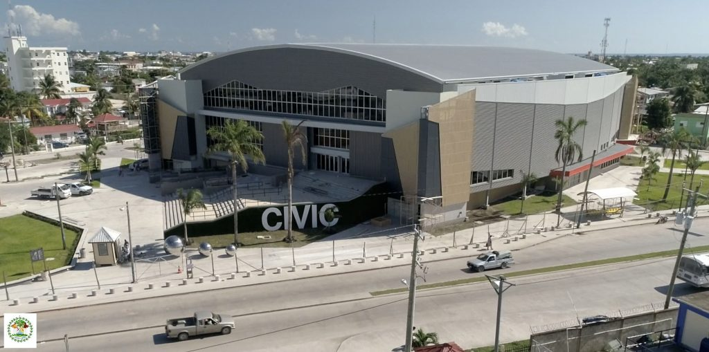 CIVIC PRIDE: Aerial shot of new Belize Civic Center. REIDsteel has been a key player in the construction of the complex in Belize City. (Picture from Government of Belize)
