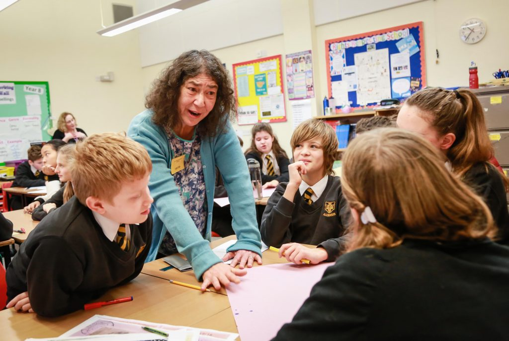 Prof Audrey Geffen visited Allenbourn Middle School to talk to pupils on Holocaust Memorial Day about her family's personal experience in Germany before and during World War Two. The children took part in practical challenges to supplement their learning.