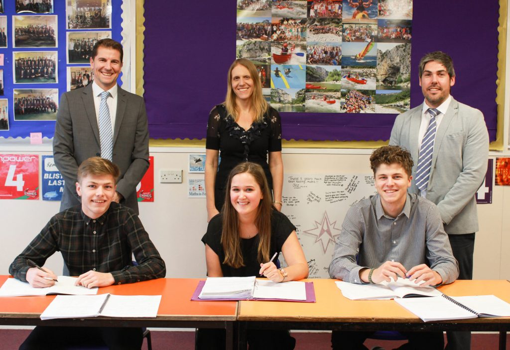 The Arnewood School is celebrating three of its A-level subjects being highlighted as producing among the best results in the south-east. Pictured: Back row, from left to right Head of Sixth Form, Mark Colman, Fiona Nation (psychology), Simon King (maths). Front row from left to right students Jake Fields, Daisy Sheppard, Rafferty Hussey.