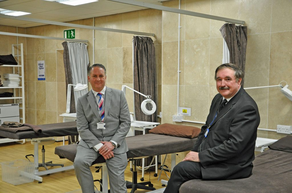 TOP FACILITIES: DCCI chief executive Ian Girling, left, with The College's executive director of resources Ken Roberts in one of the salons on a Dorset Chamber of Commerce and Industry (DCCI) Platinum Business Partners visit to at The Bournemouth and Poole College