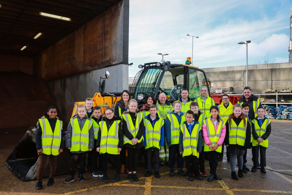 Kanes Hill Primary School pupils enjoy their visit to the City Depot premises of Balfour Beatty as part of an enterprise event to give them an insight into the construction industry.