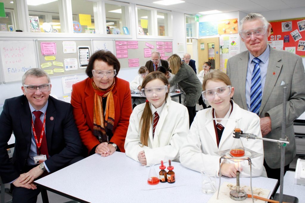 . Pictured from left to right: Headteacher Nigel Pressnell; Chair of Governors, Elizabeth Cook; Year 7 students Poppy Robinson-Green and Julia Podley; and governor Cllr Goff Beck.